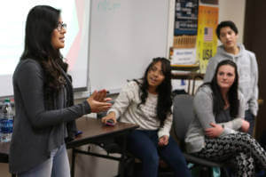 Partnership Carson City One Up team members, from left, Diana Alonso, Noemi DeLaCruz, Aadra Reed and Jaime Gudino present heroin and prescription drug awareness training to freshmen health students at Carson High School in Carson City, Nev., on Monday, Mar. 7, 2016. Photo by Cathleen Allison