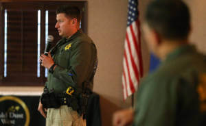 Carson City Sheriff's Sgt. Daniel Gonzalez, right, and Deputy Josh Cheney speak at a Partnership Carson City symposium on prescription drug crimes at the Gold Dust West in Carson City, Nev., on Thursday, May 26, 2016. Photo by Cathleen Allison/Nevada Photo Source